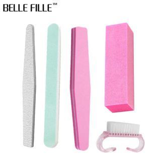 Belle Fille 5pcs Nail File Block Pink Cleaning Brush Manicure Tool Nail Buffer Polishing Block San
