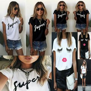 Fashion Ladies Summer Casual Blouse Tops Shirt Women Short Sleeve Loose T Shirts