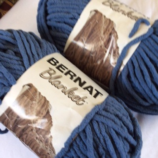 Two (2) 5.3 oz BERNAT  Country Blue Polyester Blanket Yarns. Net Weight 10.6 oz. #3