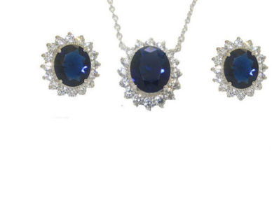 jewelry set princess kate diana earring necklace 2 pc blue cz gold plate NWT