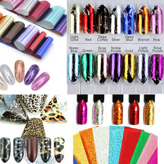 14 Colors DIY Nail Foil Transfer Stickers Mirror Effect Nail Art Starry Foils