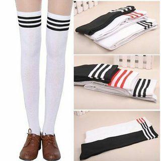 Over The Knee Socks Plain Striped High Thigh Ladies Long Womens Stripe Socks
