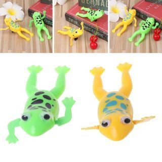 Wind up Swimming Cute Frog Toy Clockwork Stop Crying Baby Kids Bath Toys New