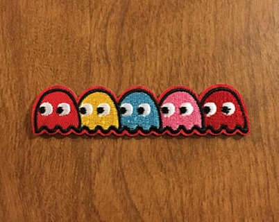 1 VINTAGE Pac Man Ghosts Patch IRON ON Patch Clothing accessories Embroidery Applique Decoration