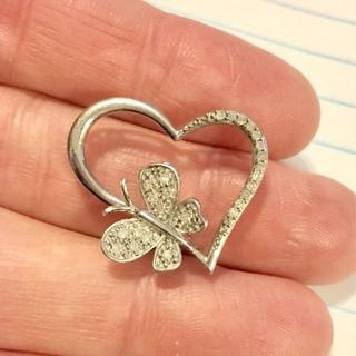 Sterling Silver & Real Diamonds 925 Butterfly Heart LOVE Pendant Signed JTW