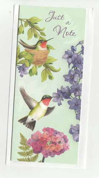 Just A Note Card Unused With Envelope Huming Birds
