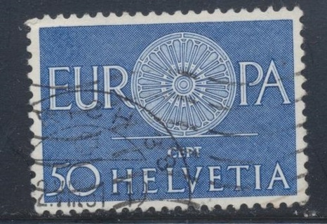 "Switzerland:  1960, ""Europa"" with ""O"" as Spoke Wheel, Scott # CH-401 - SWI-6900a"