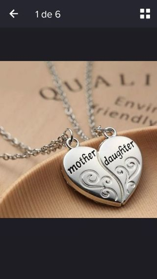 Silver 925 Mother Daughter Necklace Set