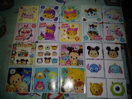 "❤✨❤✨❤️22 B.N.LARGE ASSORTED SCENTED NUM NOMS™ & TSUM"" TSUM"" STICKERS❤✨❤✨❤+MINI UNICORN NOTE PAD"