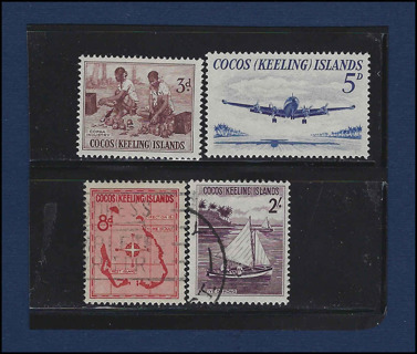 1963 Keeling (Cocos) Islands stamps (4) MNH and used, Scott #1-3, 5 Est CV $9.70