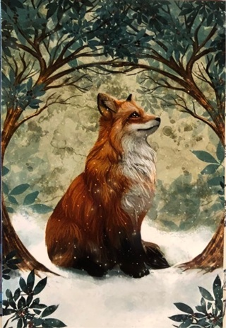 "Fox in the woods - 3 x 5"" MAGNET"