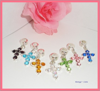 ✧✟✧ (7) Crystal Euro Cross charms ~ NEW!! ✧✟✧