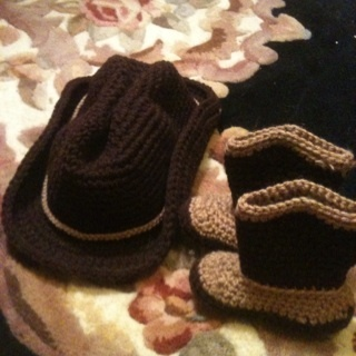free crochet baby cowboy hat and boots other baby items listia