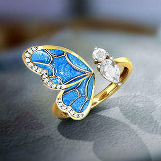 2020 Yellow Gold Plated Rings White Sapphire Adjustable Size x1