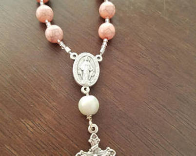 One (1) Hand Made Miraculous Medal, pink faux turquoise acrylic bead, strung one decade rosary