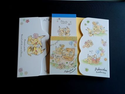 """Pikachu """"Picnic & Flowers"""" Lot ~ 2 LG Memo Pads, 2 Mini's & 12pc Letter Set ☆Kawaii Bonus Mini Pad☆"""