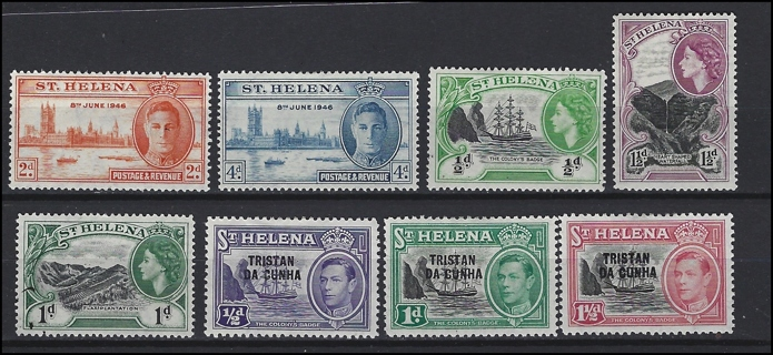 Vintage St. Helena/Tristan da Cuhna stamps (8), MH/VF-XF, with Scott IDs
