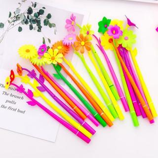 12 Piece Lytwtw's Silicone Colorful Creative Cute Flower Gel Pens Stationery Office School Supplie
