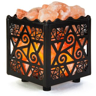 1 NEW Natural Himalayan Salt Lamp in Star Design Metal Basket with Dimmable Cord