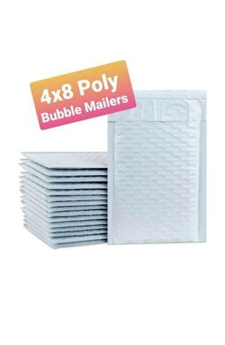 "⭐100 White ""4×8"" BUBBLE POLY MAILERS ⭐"