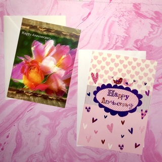 2 New Happy Anniversary Greeting Cards with Envelopes.