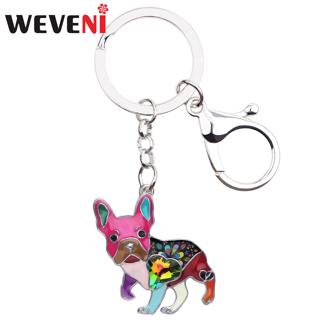 WEVENI Enamel Alloy Rhinestone French Bulldog Pug Dog Key Chains Keychain Animal Jewelry For Women