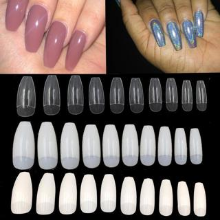 Clear Nature White 500pcs/Bag Ballerina Nail Art Tips False Coffin Nails Art Tips Flat Shape Full