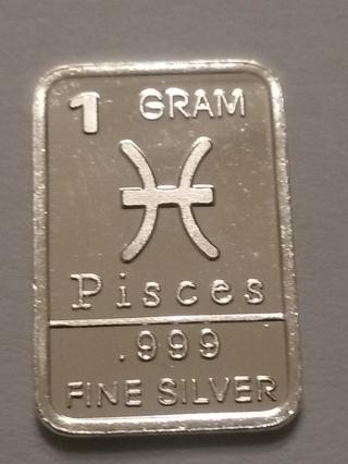 1 gram .999 fine silver bar - Pisces