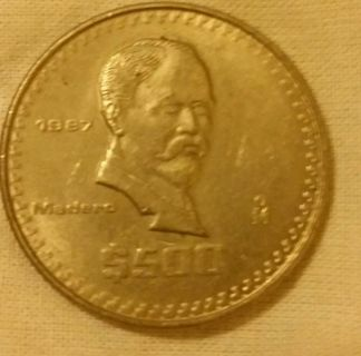 Mexico Mexican 1987 Very Well Circulated 500 Peso Large Old Coin