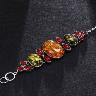 ♥‿♥ CB ♥‿♥ New Charm Faux Amber Beads Teardrop Statement Chain Charm Link Bangle Bracelet