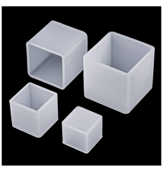 DISCOUNT! 4 Pieces Square Resin Casting Mold Cube Silicone Molds