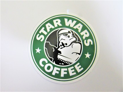 STAR WARS COFFEE Vinyl Sticker- Helmet/Car/Skateboard/Business/Crafts