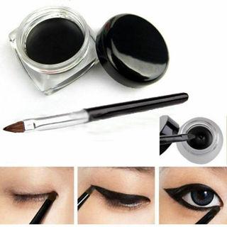 Waterproof Eye Liner Eyeliner Shadow Gel Makeup Cosmetic + Brush Black New