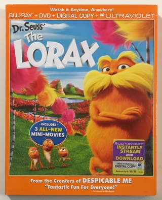 Dr. Seuss' The Lorax Blu-Ray / DVD Combo Movie with Slipcover - Mint Discs!