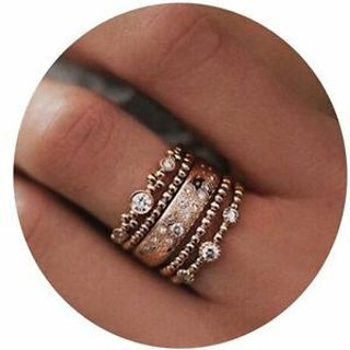 Rings Rose Gold Stacking Midi Ring 5pcs Sparkly Ring Set Jewelry Crystal