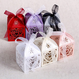 10PCs Love Heart Favor Ribbon Gift Box Candy Boxes Wedding Party Decor