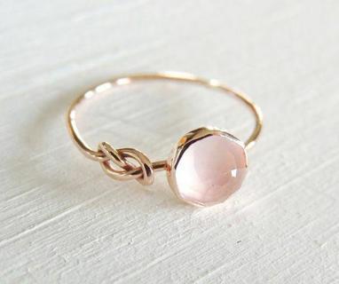 Elegant Women 18K Gold Filled Pink Moonstone Wedding Jewelry Ring Size 6-10
