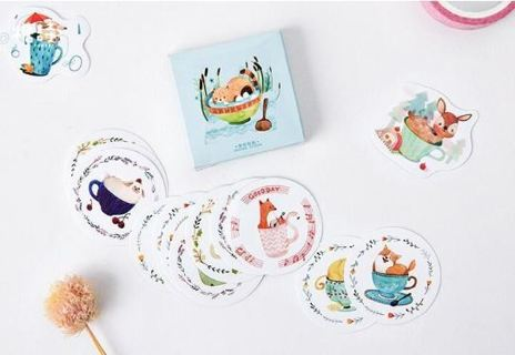45 Pcs/Pack Cup Animals Decorative Stickers