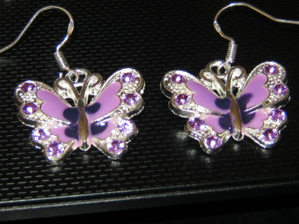 Beautiful Purple Butterfly Earrings