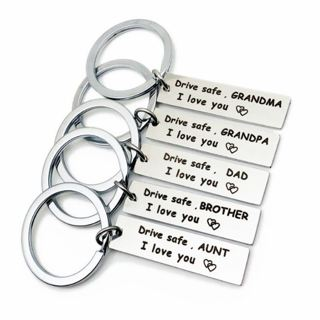 [Keychain] Drive Safe I love You Mom/Dad for Family Car Key Gift