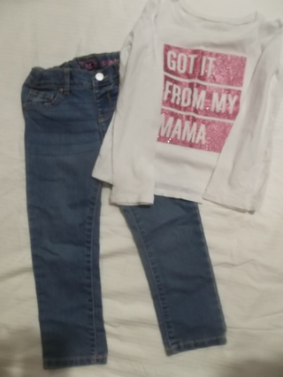 Girls Size 4T Jeans and Shirt