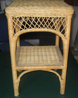 RATTAN END TABLE with SHELF FITS ANYWHERE HANDY JUST WHAT YOU HAVE BEEN LOOKING FOR!!!!!