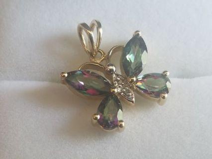 10k Gold Mystic Topaz Butterfly Pendant