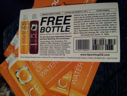 free set of 6 free sparkling ice coupons each for one 17ounce bottle no price limit