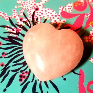 African rose quartz puffy heart New attract love Free Ship