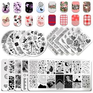 UR SUGAR Rose Flower Nail Art Stamping Plates Dreamcatcher Halloween Templates