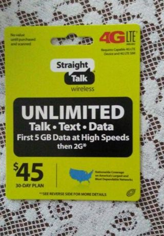 STRAIGHT TALK ~ Unlimited 30day ~ Service Plan ~ electronic or by mail ***** REDUCED GIN *****