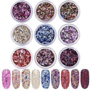 9 Colors Nail Art Foil Flake Sequins Glitter Mirror Firework Chrome Powder Dust