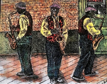 "Jazz Men - 5 x 7"" art card by artist Nina Struthers - GIN ONLY"