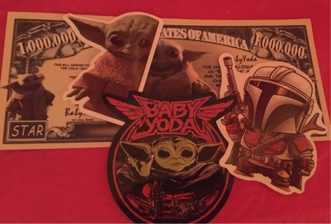 Baby Yoda 3 random Stickers Set w/Bill